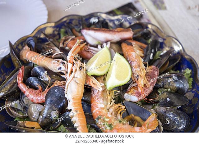 Mariscada seafood on plate, Andalusia, Spain