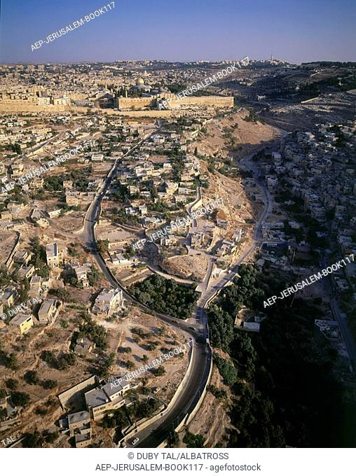 Aerial photograph of the City of David in the valley of Kidron