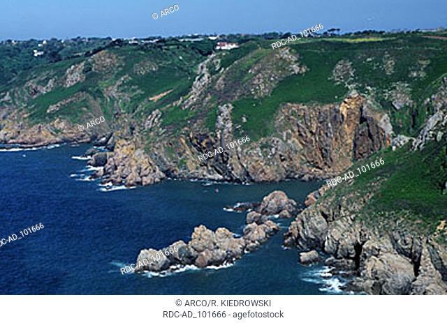 Rocky coast Jaonette Bay Guernsey Channel Islands Great Britain