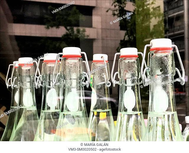 Bottles in a shop window
