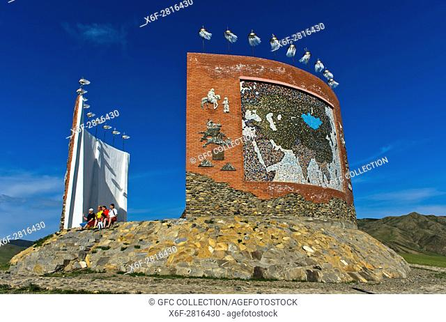 Tourists at the Great Imperial Map Monument, Kharkhorin, Mongolia