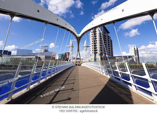 The Lowry bridge, Salford Quays, Manchester, England