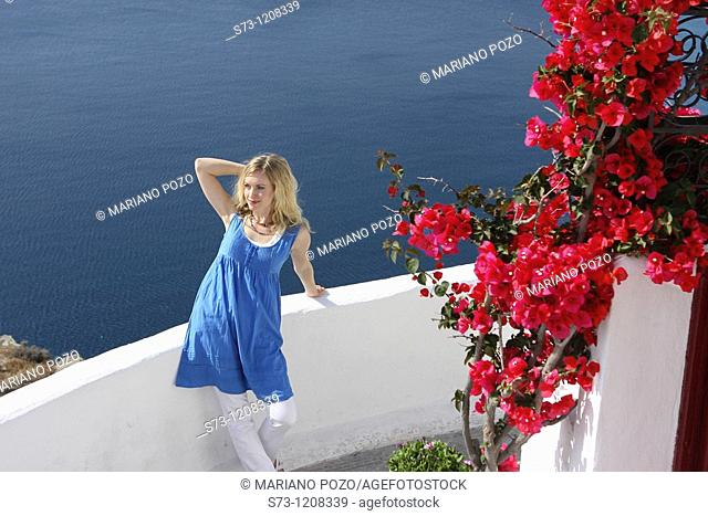 Woman in Oia, Santorini, Cyclades Islands, Greece