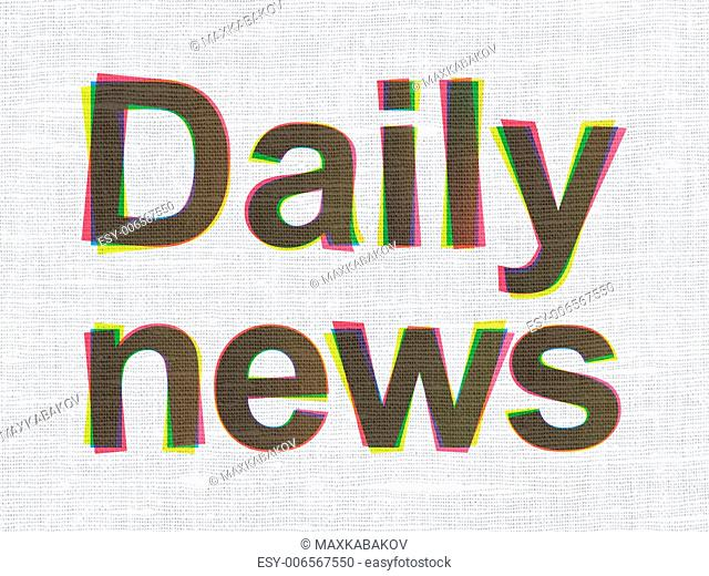News concept: CMYK Daily News on linen fabric texture background, 3d render