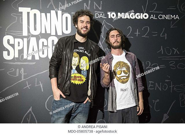 The italian singers and actors PanPers (Andrea Pisani and Luca Peracino at the photocall of the film Tonno Spiaggiato, directed by Matteo Martinez with Frank...