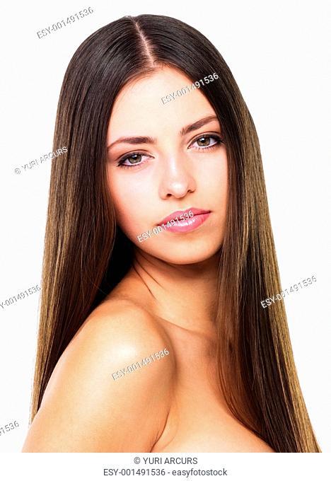 Portrait of beautiful sensual woman on white background