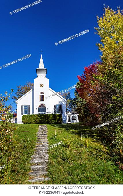 La Chapelle St-Dunstan church with fall foliage color in Lac Beauport, Quebec, Canada