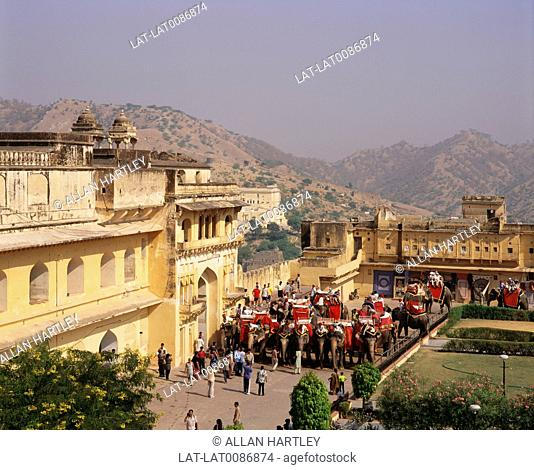 The Amber Fort is located 11 km from Jaipur,Rajasthan state,India. Built over the remnants of an earlier structure,the palace complex which stands to this date...