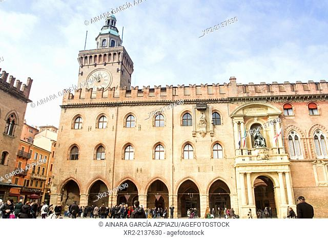 Town hall in the Piazza Maggiore of Bologna, Emilia Romagna, Italy