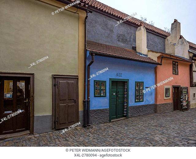 Golden lane on the Prague Castle, Hradcany, UNESCO World Heritage Site, Prague, Czech Republic, Europe