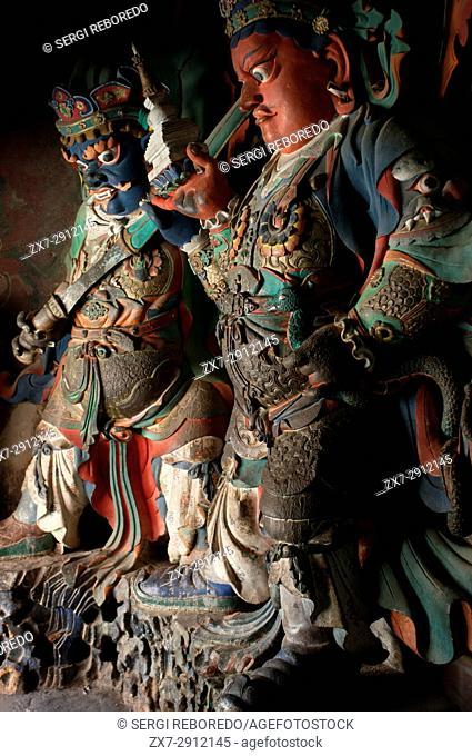 Tibetan deities inside Pelkhor Chode Temple Complex, Gyantse, Tibet, China