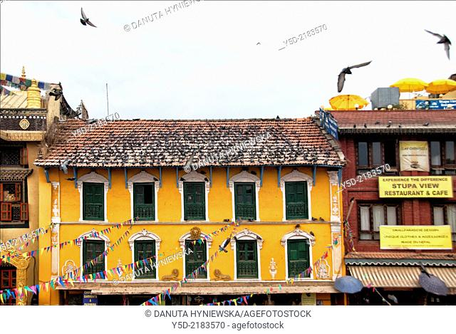 Buildings front to Great stupa, Boudhanath also called Boudha, Bouddhanath or Baudhanath, Kathmandu, Nepal