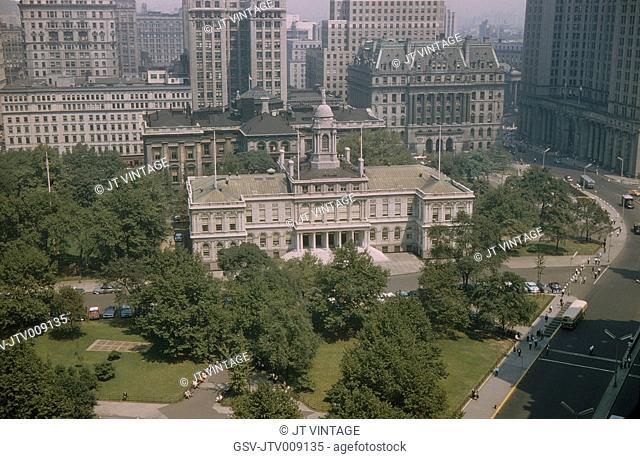 City Hall, High Angle View, New York City, New York, USA, July 1961