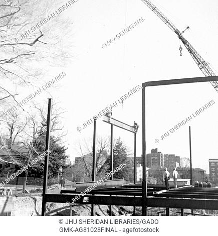 During the early stages of construction of the Milton S Eisenhower Library at Johns Hopkins University, beams are put into place to create a structure above...