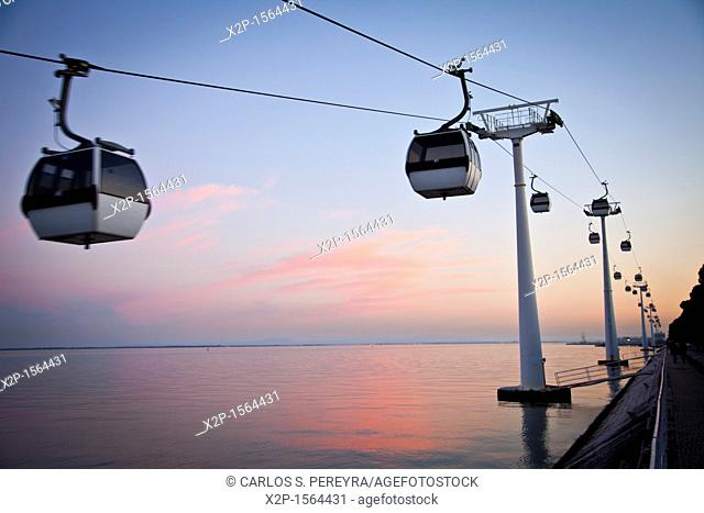 Cable car in Vasco de Parque das Nações, Lisbon, Portugal, Europe