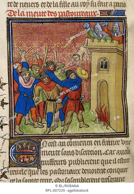 Third Crusade of Pastoureaux Miniature The Third Crusade of the Pastoureaux, Jews throwing their children from a tower. Image taken from Chroniques de France ou...