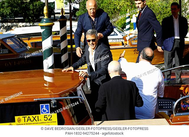 George Clooney is seen leaving the Hotel Excelsior after giving interviews during the 74th Venice Film Festival on September 01, 2017 in Venice