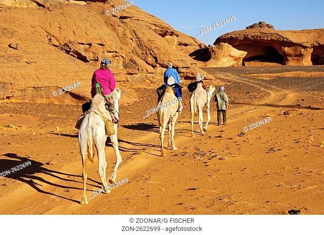 Touristen reiten auf Dromedaren durch ein Trockental im Akakus-Gebirge, Sahara, Libyen / Tourists on a camel excursion in a wadi of the Acacus Mountains