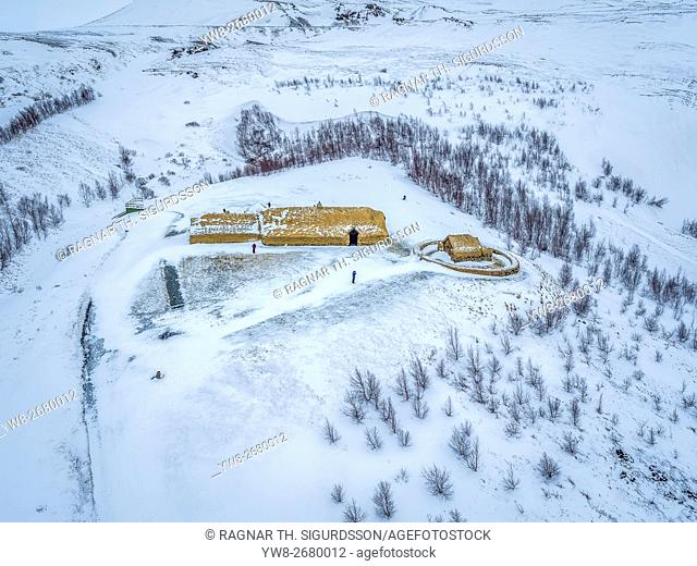 Thjodveldisbaerinn-reconstructed traditional viking-era farmhouse in the Thjorsardalur valley, Iceland. This image is shot using a drone