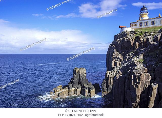 Neist Point Lighthouse on the Isle of Skye, Inner Hebrides, Scottish Highlands, Scotland, UK