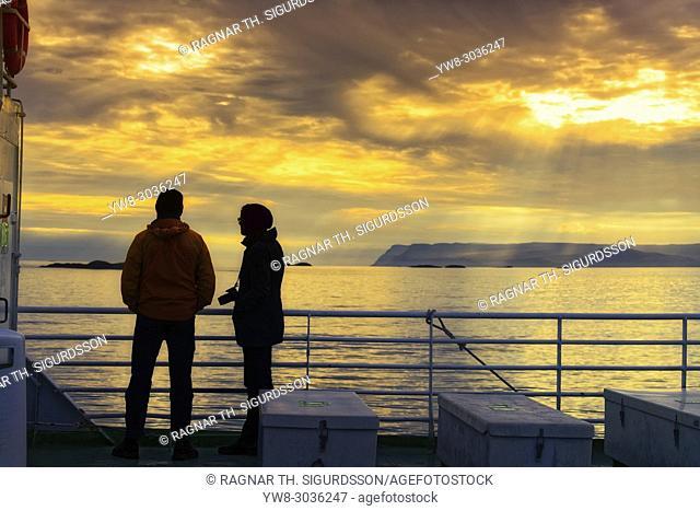 Couple on the Baldur Ferry, Breidafjordur, West Fjords, Iceland
