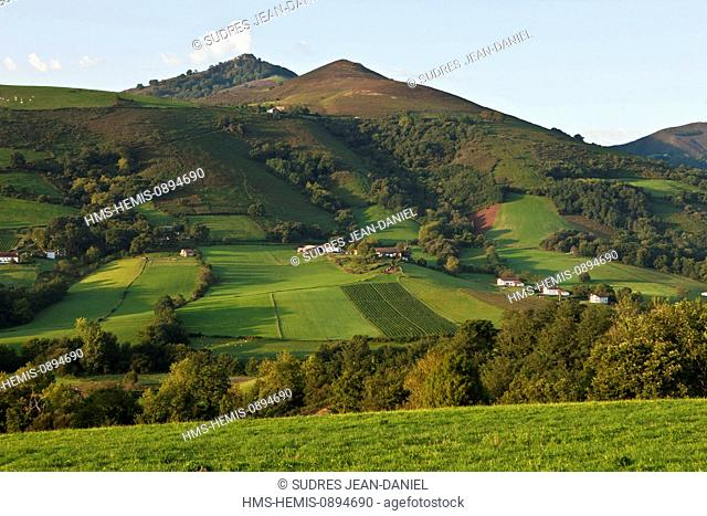 France, Pyrenees Atlantiques, Basque Country, Itxassou, overlooking the Pyrenees Basques
