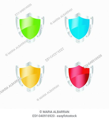 3D Security shields on a white background