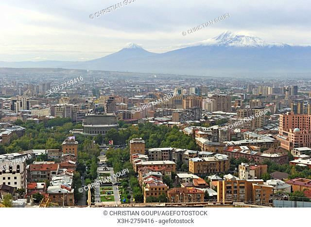 overview from Cascade stairway with Mount Ararat in the background, Yerevan, Armenia, Eurasia