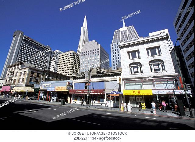 Chinatown district San Francisco. California Transamerica Pyramid