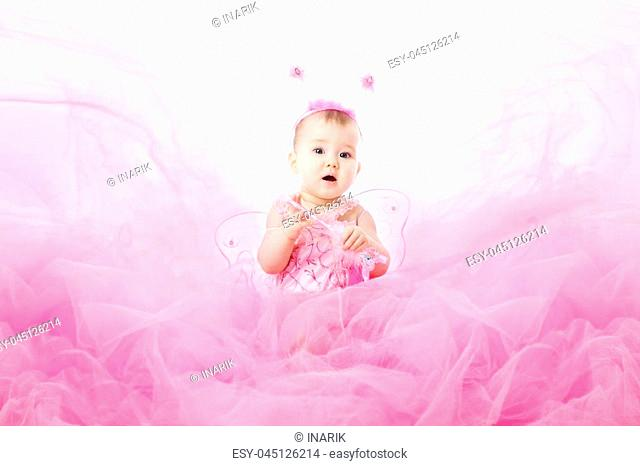 Baby Girl in Pink Dress, Beautiful Child Portrait, Cute Infant Kid Dressed in Fairy Butterfly Costume