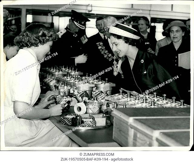May 05, 1957 - Princess Margaret Visits Swindon: Princess Margaret yesterday visited Swindon where she visited the Plessey factory on the new Trading Estate and...