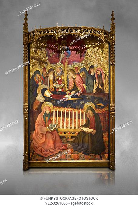 Gothic painted panel of the Nativity scene by Taddeo Gabbi of Florence, circa 1325, tempera and gold leaf on wood. National Museum of Catalan Art, Barcelona