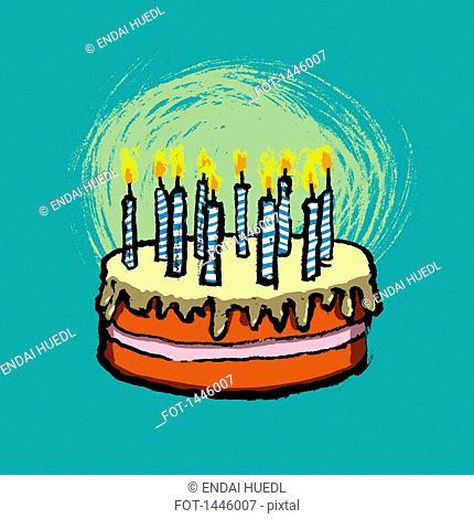 Illustrative image of birthday cake against blue background