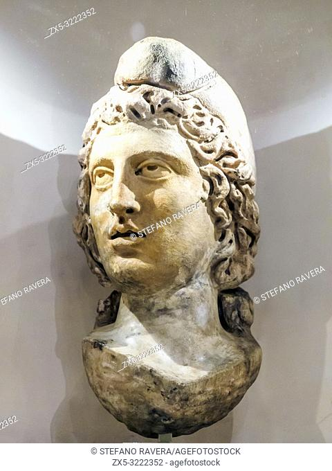 Head of Mithras. Marble. Late 2nd century. Museum of London, England