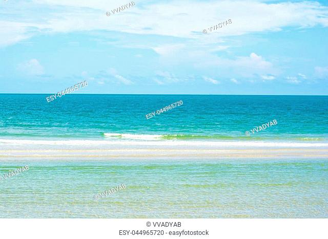 Thailand ocean - beautiful seascape sea horizon with wave and blue sky, natural photo background