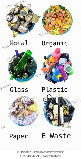 recycle of cans, compost, glass, plastic, paper, e-waste