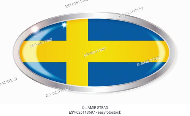 Oval silver button with the Swedish flag isolated on a white background