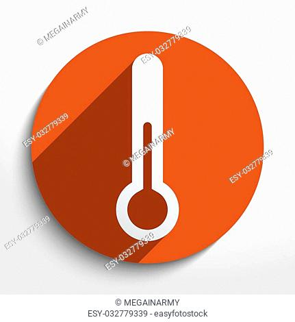 Vector thermometer web flat icon in circle