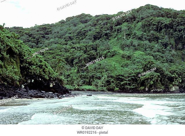 Beach & surf Wafer Bay, Cocos Island, Costa Rica 1978