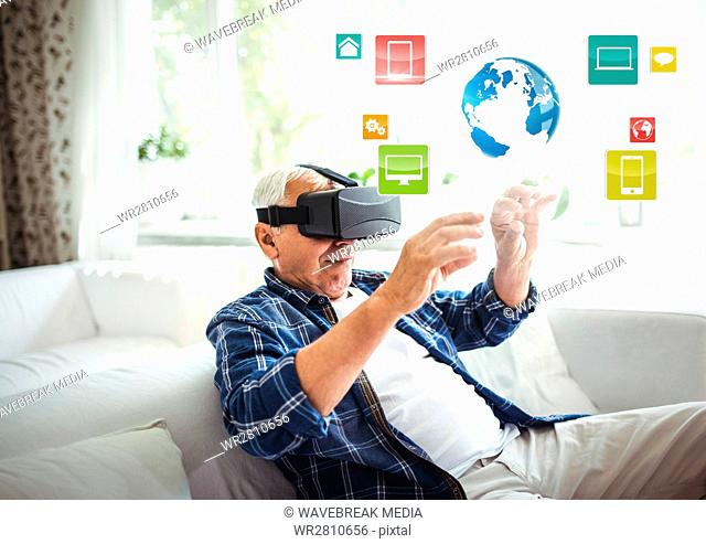 Old man wearing VR Virtual Reality Headset with Interface