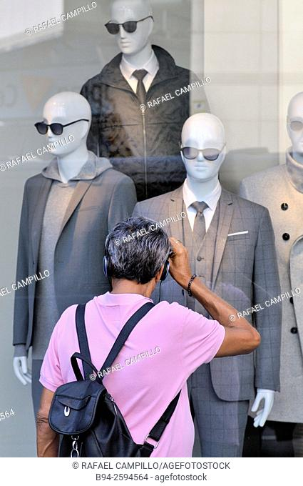 Dummies in a clothig store. Barcelona. Catalonia. Spain