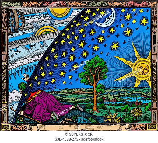 Flammarion Woodcut of the Discovery of the Heavenly Spheres