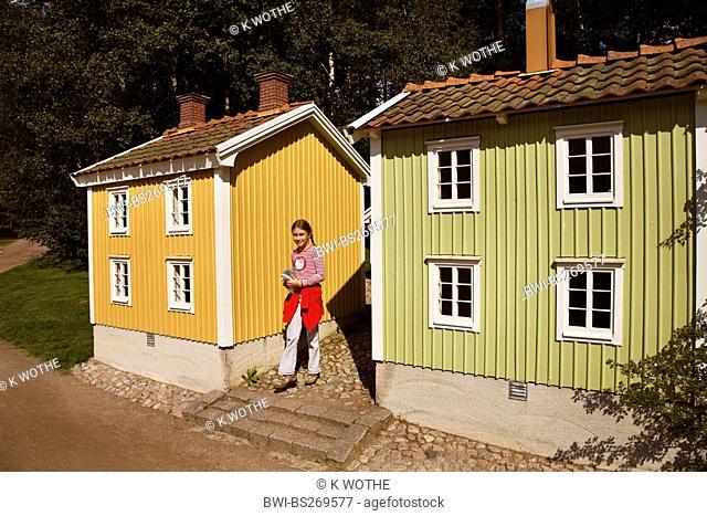 girl in theme park Astrid Lindgren Vaerld, Astrid Lindgren World, Sweden, Smaland, Vimmerby