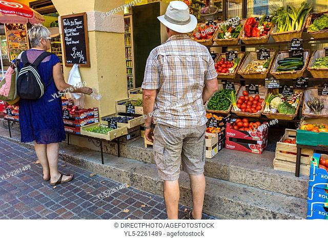 Collioure, France, Couple Tourists Shopping at Local Grocery Store, Seaside Village near Perpignan, South of France