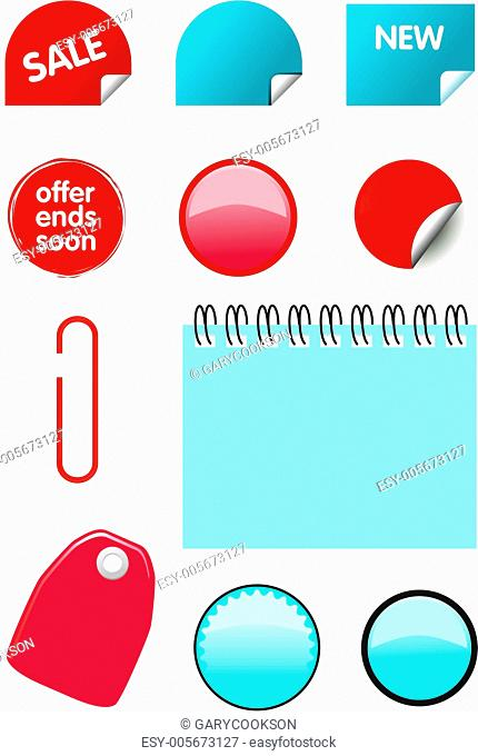 Collection of price, sale and offer icons for catalogues. (Vector)