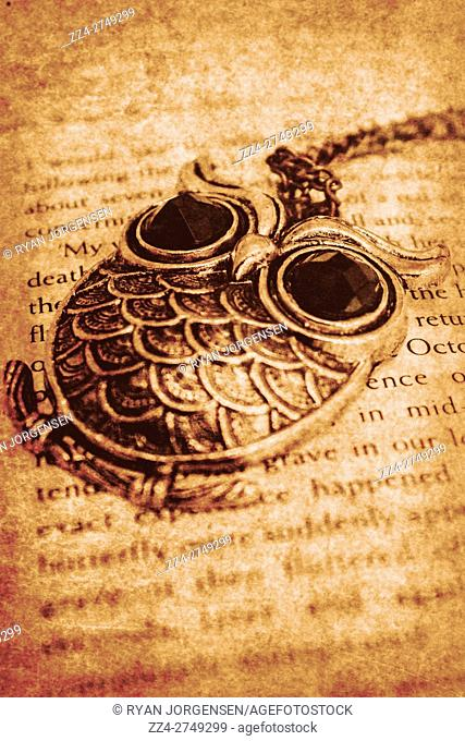 Old-fashioned open textbook with a bird pendant necklace scattered amongst gone but not forgotten text. Antique memoirs