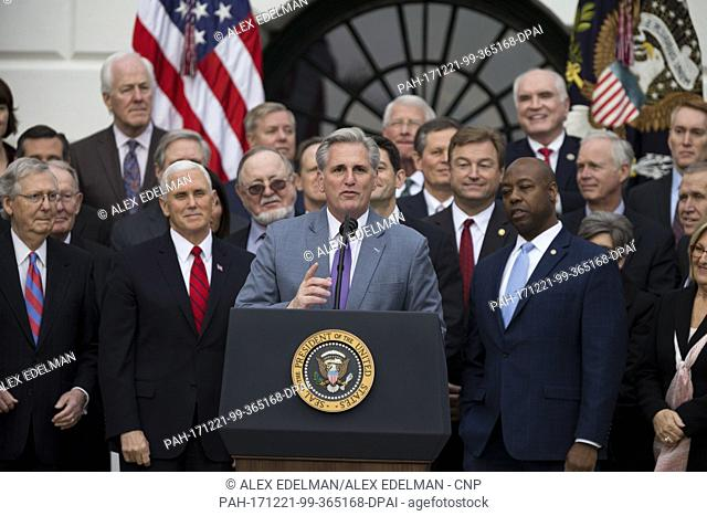 United States House of Representatives Majority Whip Kevin McCarthy, Republican of California, speaks on the South Lawn of the White House surrounded by United...