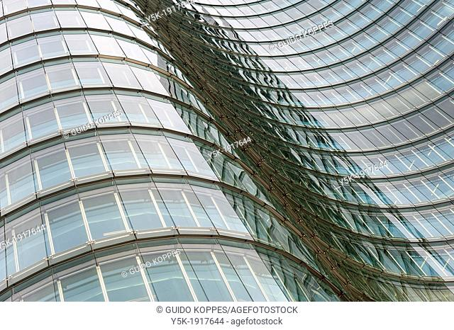 Utrecht, Netherlands. The glass, curved facade of the corporate headquarters of Rabobank, one of the largest banks in the Netherlands