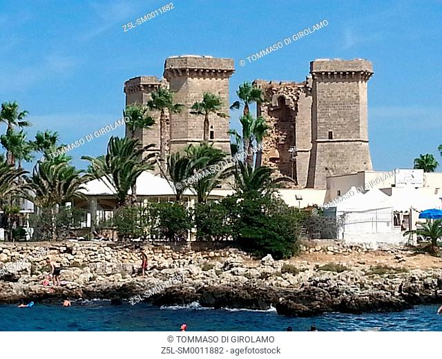 Italy, Apulia, Salento, Santa maria al bagno, towers of Galatena river