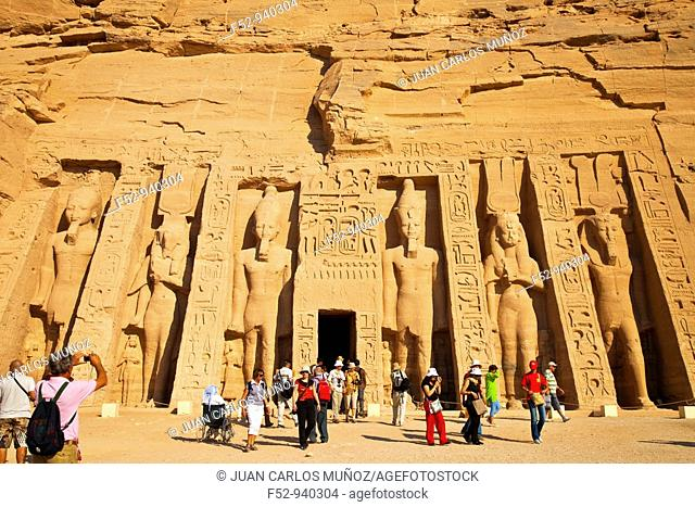 Temple of Hathor, Abu Simbel, Nile river valley, Egypt